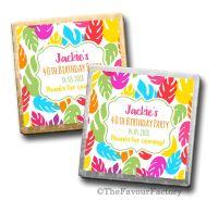 Bright Tropical Luau Birthday Party Personalised Milk Chocolates Squares x10