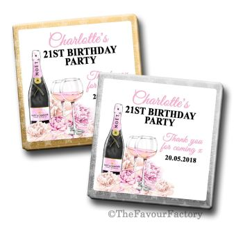 Adult Birthday Party Chocolates Favours - Personalised - Champagne & Flowers