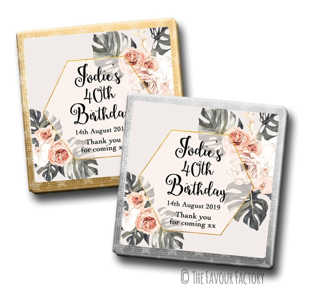 Boho Floral Frame Birthday Party Personalised Milk Chocolates Squares x10
