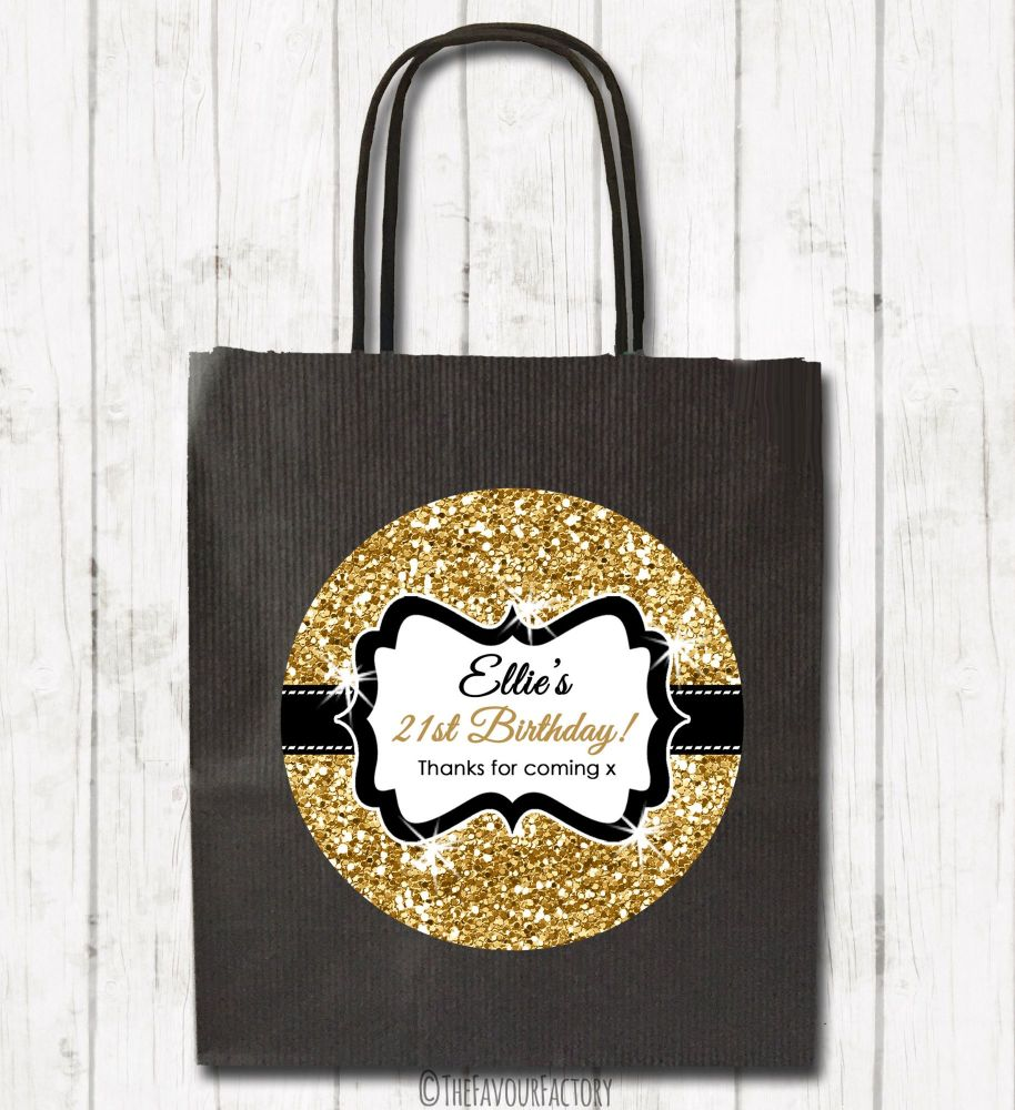 Gold Glitter Personalised Paper Birthday Party Bags x1