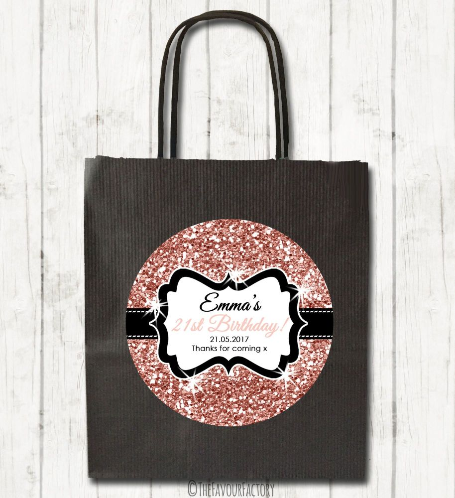 Rose Gold Glitter Personalised Paper Birthday Party Bags x1