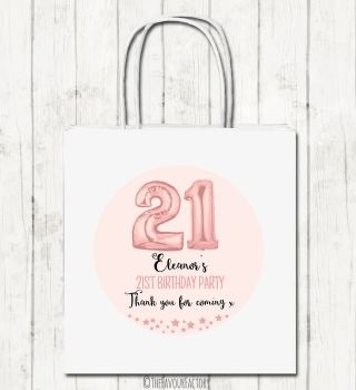 Rose Gold Age Balloons Personalised Paper Birthday Party Bags x1
