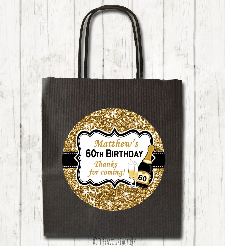 Gold Glitter Champagne Personalised Paper Birthday Party Bags x1