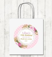 Ornate Roses Personalised Paper Birthday Party Bags x1