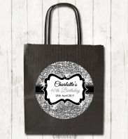 Silver Glitter Personalised Paper Birthday Party Bags x1