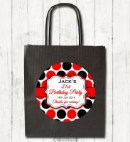 Large Polka Dots Personalised Paper Birthday Party Bags x1
