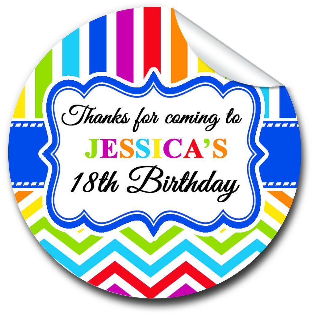 Rainbow Brights Personalised Adult Birthday Party Bag Favours Stickers, 1xA