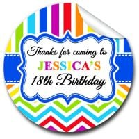 Rainbow Brights Personalised Adult Birthday Party Bag Favours Stickers, 1xA4 sheet