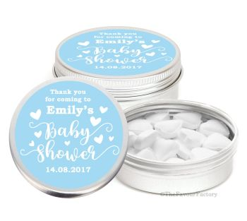 Love Hearts Blue Personalised Baby Shower Party Favour Tins x1