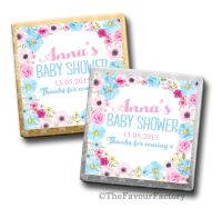 Anna Florals Baby Shower Personalised Milk Chocolates Squares x10