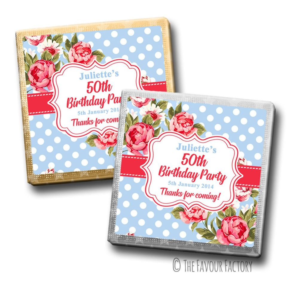 Cath Floral Polka Dots Birthday Party Personalised Milk Chocolates Squares