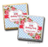 Cath Floral Polka Dots Birthday Party Personalised Milk Chocolates Squares x10