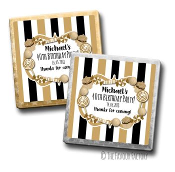 Adult Birthday Party Chocolates Favours - Personalised - Black and Gold Candy Sweets