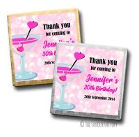 Cocktail Sparkles Birthday Party Personalised Milk Chocolates Squares x10