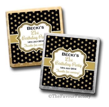 Adult Birthday Party Chocolates Favours - Personalised - Stars