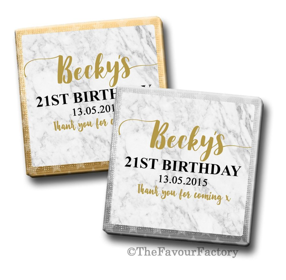 Marble Birthday Party Personalised Milk Chocolates Squares x10