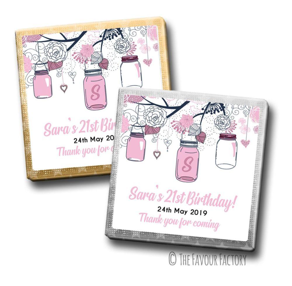 Mason jars Birthday Party Personalised Milk Chocolates Squares x10