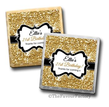 Adult Birthday Party Chocolates Favours - Personalised - Gold Glitter