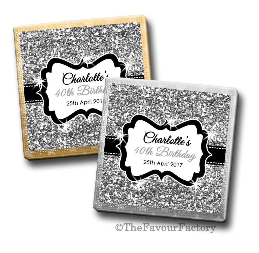 Silver Glitter Birthday Party Personalised Milk Chocolates Squares x10