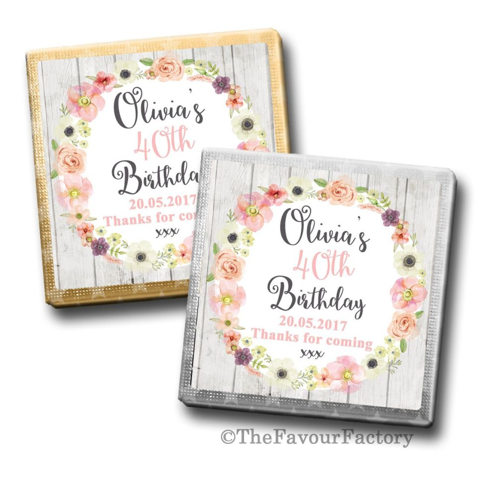 Jessica Florals Birthday Party Personalised Milk Chocolates Squares x10