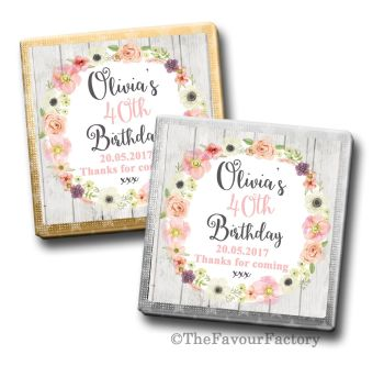 Adult Birthday Party Chocolates Favours - Personalised - Jessica Florals
