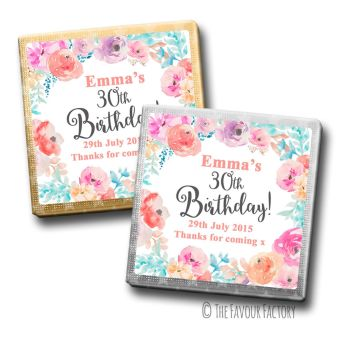 Adult Birthday Party Chocolates Favours - Personalised - Emma Florals