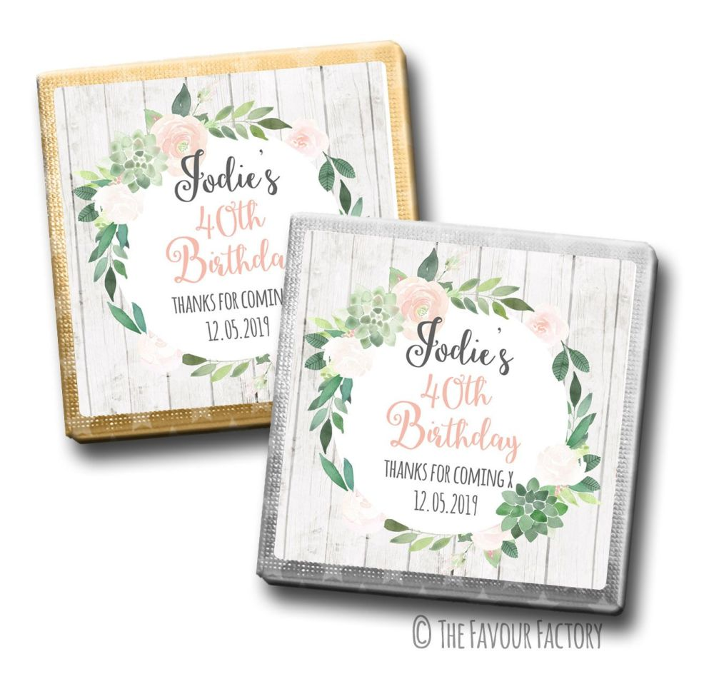 Succulents Florals Birthday Party Personalised Milk Chocolates Squares x10
