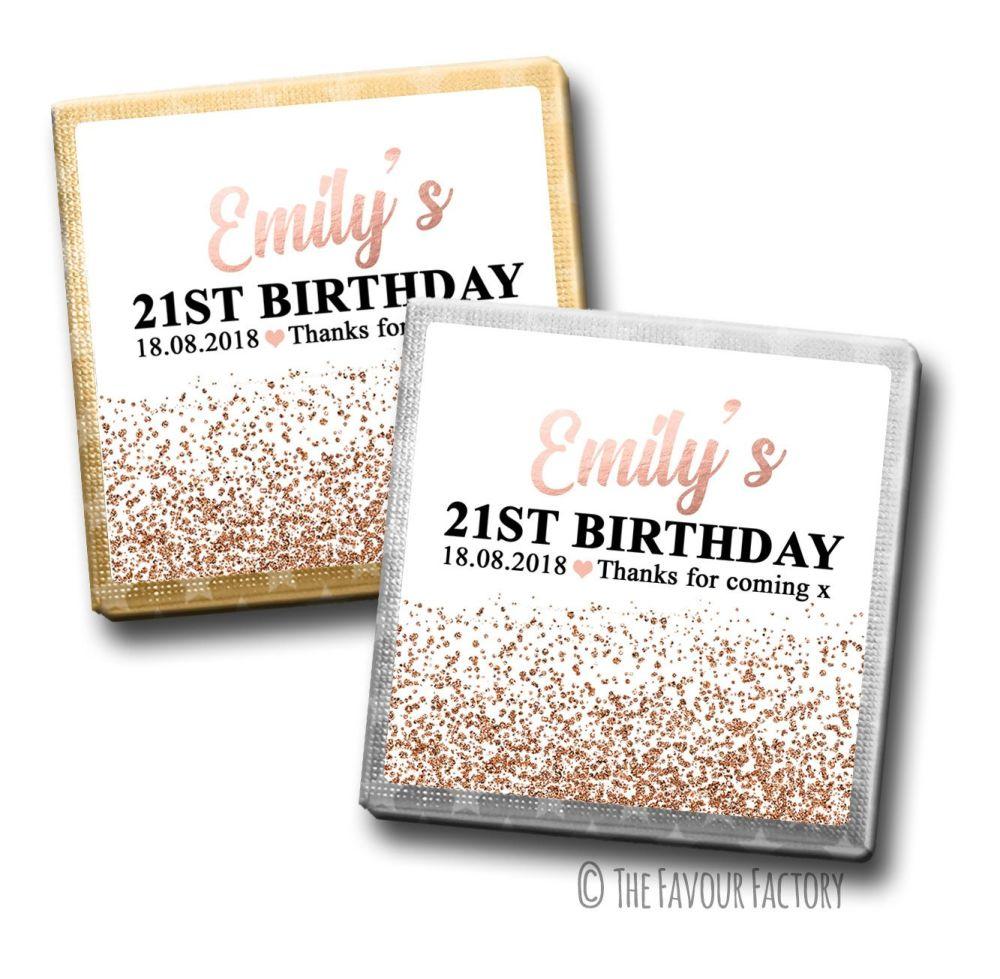 Rose Gold Glitter Confetti Birthday Party Personalised Milk Chocolates Squa