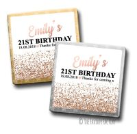 Rose Gold Glitter Confetti Birthday Party Personalised Milk Chocolates Squares x10