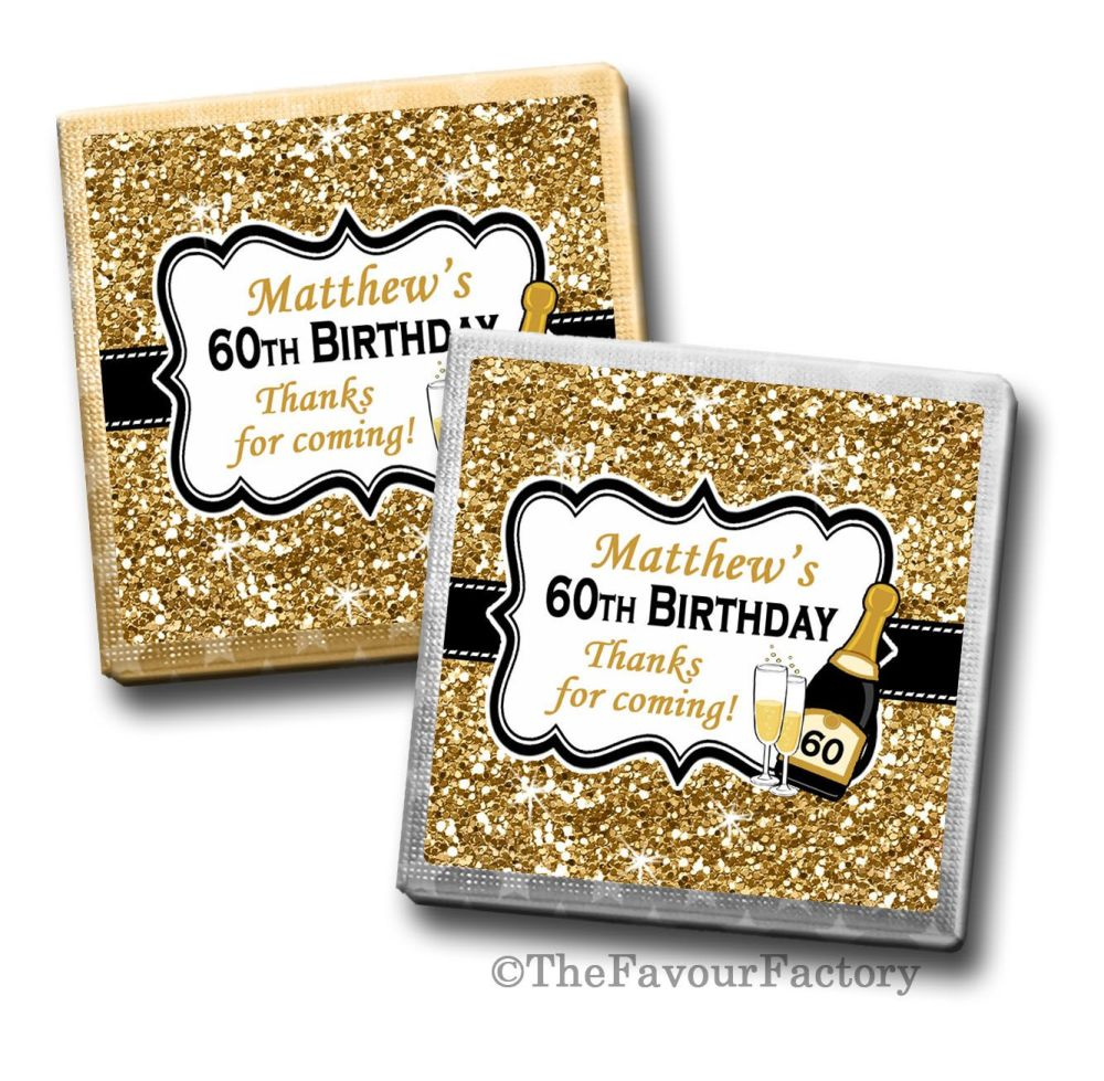 Gold Glitter Champagne Birthday Party Personalised Milk Chocolates Squares