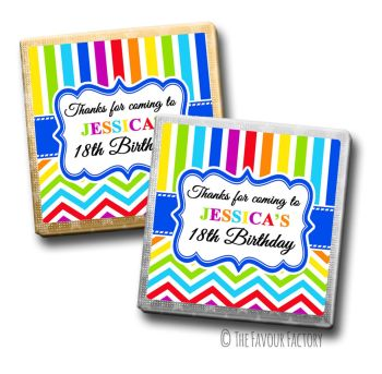 Adult Birthday Party Chocolates Favours - Personalised - Rainbow Brights
