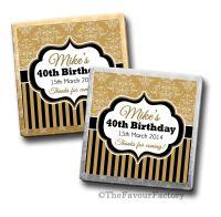 Damask Stripes Birthday Party Personalised Milk Chocolates Squares x10