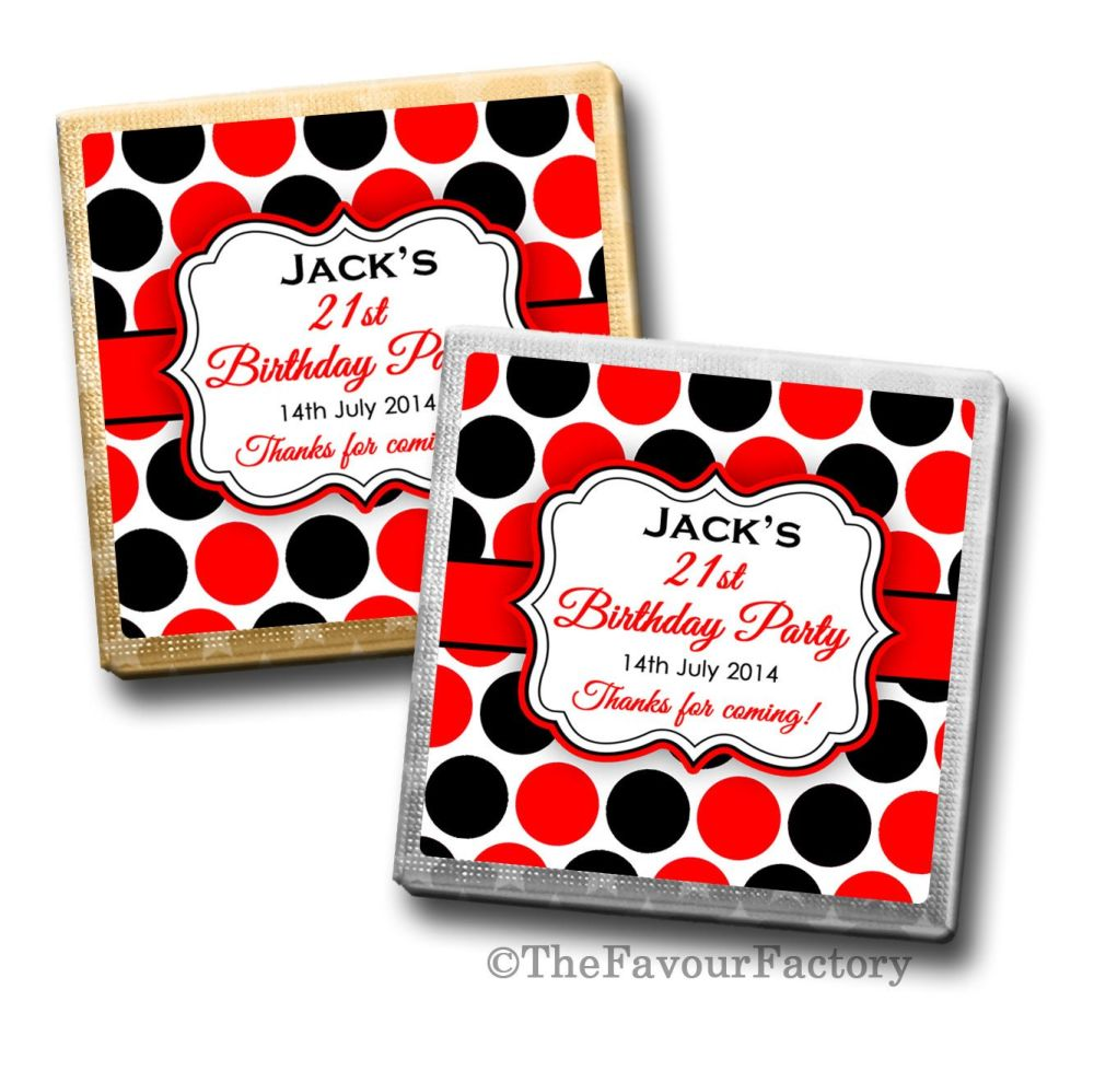 Large Polka Dots Birthday Party Personalised Milk Chocolates Squares x10