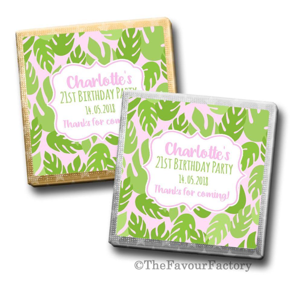Palm Leaves Luau Birthday Party Personalised Milk Chocolates Squares x10