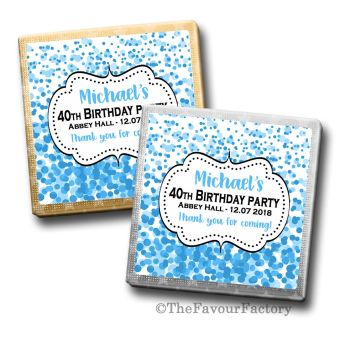 Adult Birthday Party Chocolates Favours - Personalised - Blue Confetti