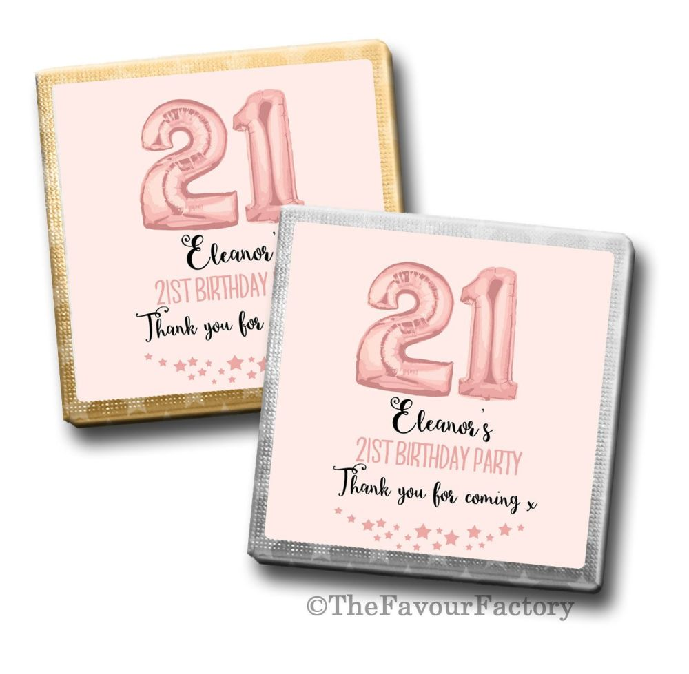 Rose Gold Age Balloons Birthday Party Personalised Milk Chocolates Squares