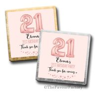 Rose Gold Age Balloons Birthday Party Personalised Milk Chocolates Squares x10