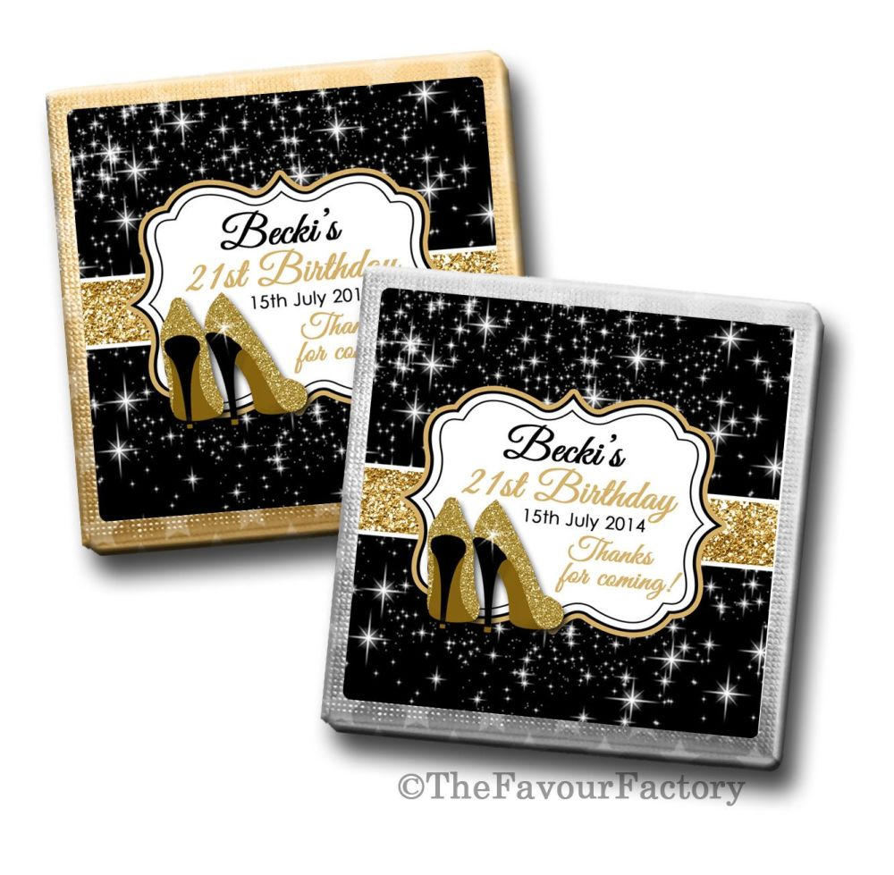 Gold Glitter Stilettos Birthday Party Personalised Milk Chocolates Squares