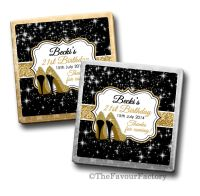 Gold Glitter Stilettos Birthday Party Personalised Milk Chocolates Squares x10