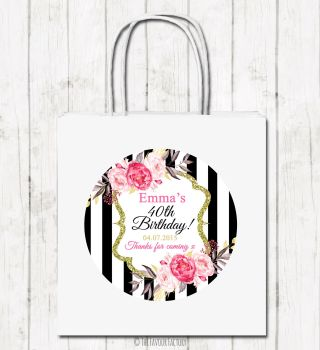 Black Stripe Florals Personalised Paper Birthday Party Bags x1
