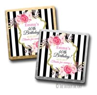 Black Stripe Florals Birthday Party Personalised Milk Chocolates Squares