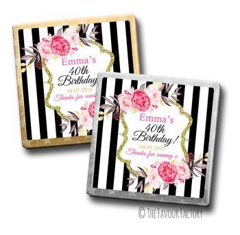 Adult Birthday Party Chocolates Favours - Personalised - Black Stripe Florals