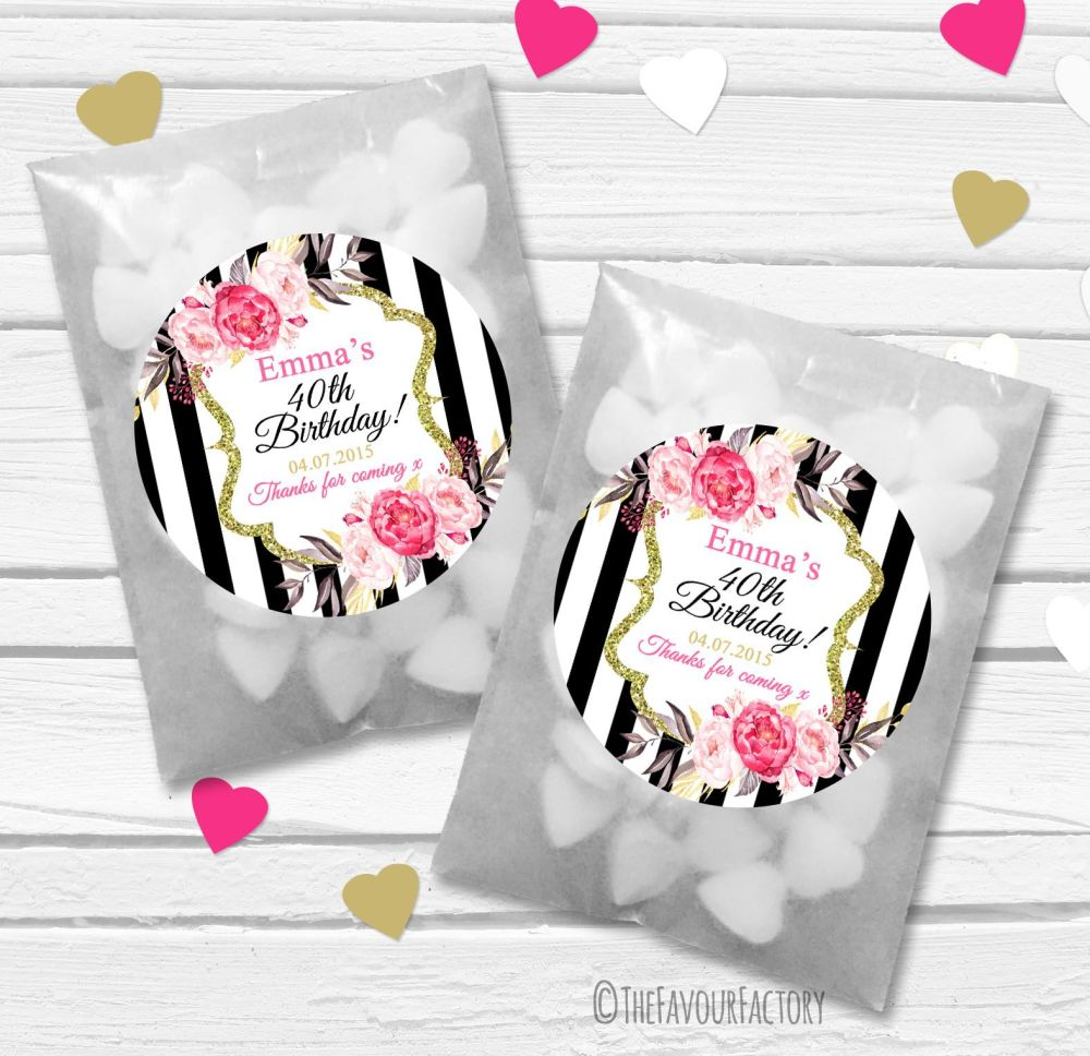 Black stripe Roses Personalised Birthday Party Glassine Paper Favour Bags K