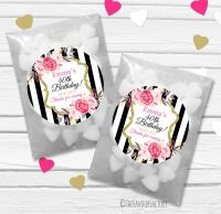 Black stripe Roses Personalised Birthday Party Glassine Paper Favour Bags Kits x12