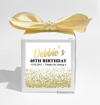 Gold Glitter Confetti Personalised Birthday Party Favour Boxes KITS x1