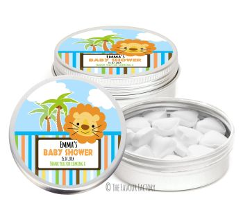 Cute Lion Personalised Baby Shower Party Favour Tins x1