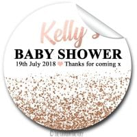 Rose Gold Glitter Confetti Personalised Baby Shower Party Favours Stickers