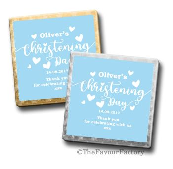 Love Hearts Blue Christening Personalised Milk Chocolates Squares x10