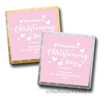 Love Hearts Pink Christening Personalised Milk Chocolates Squares x10