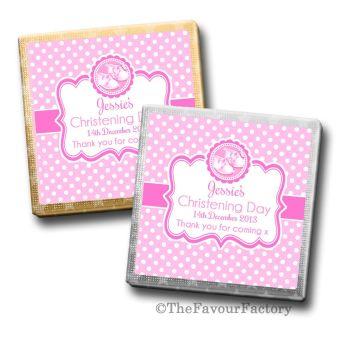 Booties Pink Christening Personalised Milk Chocolates Squares x10